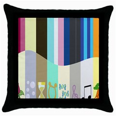 Rainbow Color Line Vertical Rose Bubble Note Carrot Throw Pillow Case (Black)