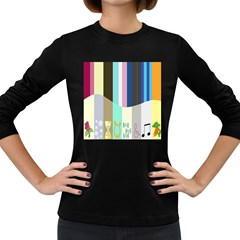 Rainbow Color Line Vertical Rose Bubble Note Carrot Women s Long Sleeve Dark T Shirts