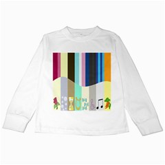 Rainbow Color Line Vertical Rose Bubble Note Carrot Kids Long Sleeve T-Shirts