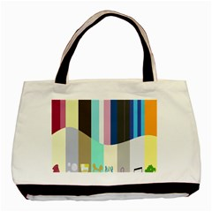 Rainbow Color Line Vertical Rose Bubble Note Carrot Basic Tote Bag