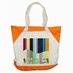 Rainbow Color Line Vertical Rose Bubble Note Carrot Accent Tote Bag