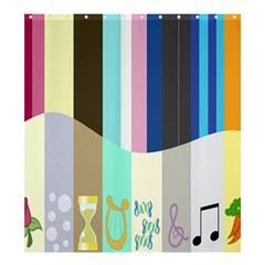 Rainbow Color Line Vertical Rose Bubble Note Carrot Shower Curtain 66  x 72  (Large)