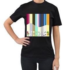Rainbow Color Line Vertical Rose Bubble Note Carrot Women s T-Shirt (Black)