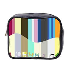 Rainbow Color Line Vertical Rose Bubble Note Carrot Mini Toiletries Bag 2-Side