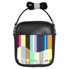 Rainbow Color Line Vertical Rose Bubble Note Carrot Girls Sling Bags