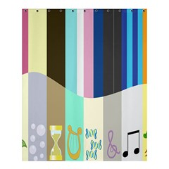Rainbow Color Line Vertical Rose Bubble Note Carrot Shower Curtain 60  x 72  (Medium)
