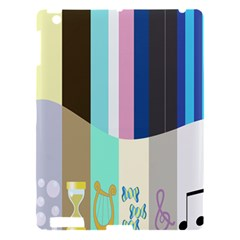 Rainbow Color Line Vertical Rose Bubble Note Carrot Apple iPad 3/4 Hardshell Case