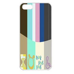 Rainbow Color Line Vertical Rose Bubble Note Carrot Apple iPhone 5 Seamless Case (White)