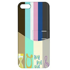 Rainbow Color Line Vertical Rose Bubble Note Carrot Apple iPhone 5 Hardshell Case with Stand