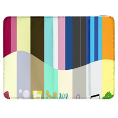 Rainbow Color Line Vertical Rose Bubble Note Carrot Samsung Galaxy Tab 7  P1000 Flip Case