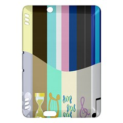 Rainbow Color Line Vertical Rose Bubble Note Carrot Kindle Fire HDX Hardshell Case