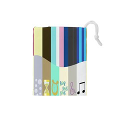 Rainbow Color Line Vertical Rose Bubble Note Carrot Drawstring Pouches (Small)
