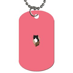 Minimalism Cat Pink Animals Dog Tag (Two Sides)