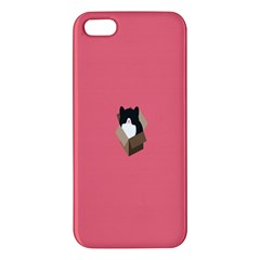 Minimalism Cat Pink Animals iPhone 5S/ SE Premium Hardshell Case