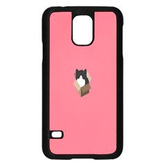 Minimalism Cat Pink Animals Samsung Galaxy S5 Case (Black)