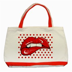 Sexy Lips Red Polka Dot Classic Tote Bag (Red)