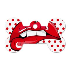 Sexy Lips Red Polka Dot Dog Tag Bone (two Sides)