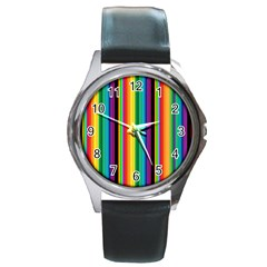 Multi Colored Colorful Bright Stripes Wallpaper Pattern Background Round Metal Watch