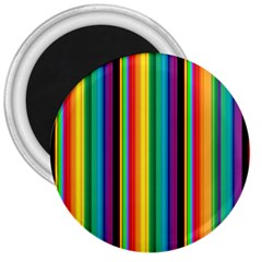Multi Colored Colorful Bright Stripes Wallpaper Pattern Background 3  Magnets