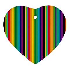 Multi Colored Colorful Bright Stripes Wallpaper Pattern Background Ornament (Heart)