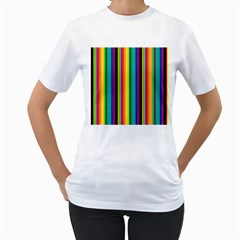 Multi Colored Colorful Bright Stripes Wallpaper Pattern Background Women s T Shirt (white) (two Sided)