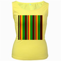 Multi Colored Colorful Bright Stripes Wallpaper Pattern Background Women s Yellow Tank Top