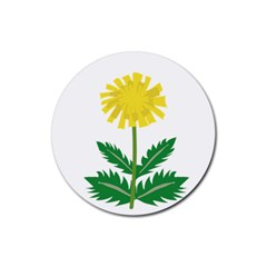 Sunflower Floral Flower Yellow Green Rubber Round Coaster (4 pack)
