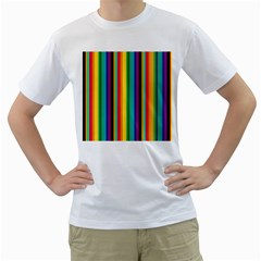 Multi Colored Colorful Bright Stripes Wallpaper Pattern Background Men s T Shirt (white) (two Sided)