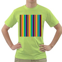 Multi Colored Colorful Bright Stripes Wallpaper Pattern Background Green T-Shirt