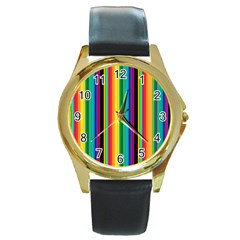 Multi Colored Colorful Bright Stripes Wallpaper Pattern Background Round Gold Metal Watch