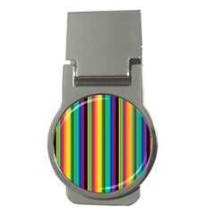 Multi Colored Colorful Bright Stripes Wallpaper Pattern Background Money Clips (round)