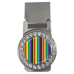 Multi Colored Colorful Bright Stripes Wallpaper Pattern Background Money Clips (cz)