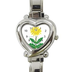 Sunflower Floral Flower Yellow Green Heart Italian Charm Watch