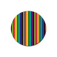 Multi Colored Colorful Bright Stripes Wallpaper Pattern Background Rubber Round Coaster (4 Pack)