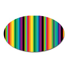 Multi Colored Colorful Bright Stripes Wallpaper Pattern Background Oval Magnet
