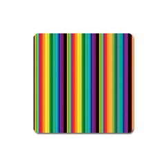 Multi Colored Colorful Bright Stripes Wallpaper Pattern Background Square Magnet