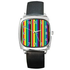 Multi Colored Colorful Bright Stripes Wallpaper Pattern Background Square Metal Watch