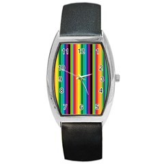 Multi Colored Colorful Bright Stripes Wallpaper Pattern Background Barrel Style Metal Watch