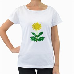 Sunflower Floral Flower Yellow Green Women s Loose-Fit T-Shirt (White)