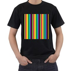Multi Colored Colorful Bright Stripes Wallpaper Pattern Background Men s T Shirt (black) (two Sided)
