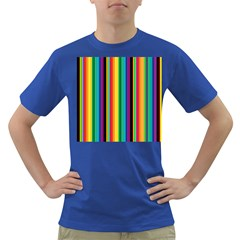 Multi Colored Colorful Bright Stripes Wallpaper Pattern Background Dark T Shirt