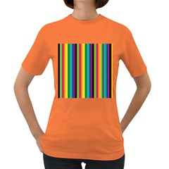 Multi Colored Colorful Bright Stripes Wallpaper Pattern Background Women s Dark T Shirt
