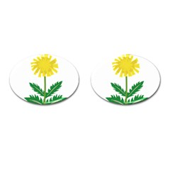 Sunflower Floral Flower Yellow Green Cufflinks (Oval)