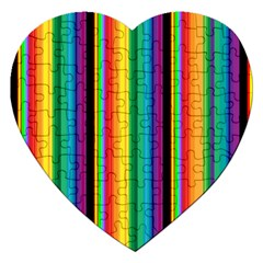 Multi Colored Colorful Bright Stripes Wallpaper Pattern Background Jigsaw Puzzle (Heart)