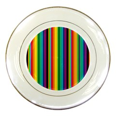 Multi Colored Colorful Bright Stripes Wallpaper Pattern Background Porcelain Plates