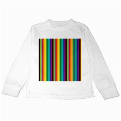 Multi Colored Colorful Bright Stripes Wallpaper Pattern Background Kids Long Sleeve T-Shirts