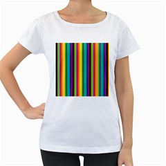 Multi Colored Colorful Bright Stripes Wallpaper Pattern Background Women s Loose-Fit T-Shirt (White)