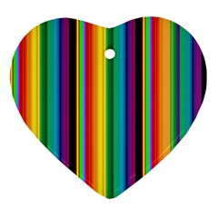 Multi Colored Colorful Bright Stripes Wallpaper Pattern Background Heart Ornament (Two Sides)