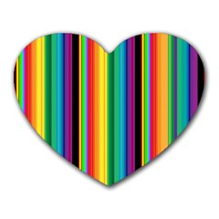 Multi Colored Colorful Bright Stripes Wallpaper Pattern Background Heart Mousepads
