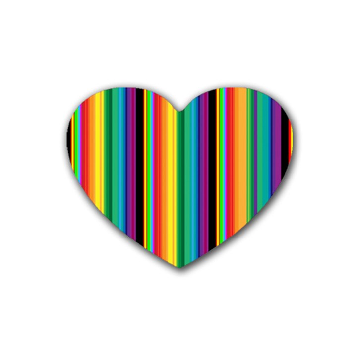 Multi Colored Colorful Bright Stripes Wallpaper Pattern Background Rubber Coaster (Heart)